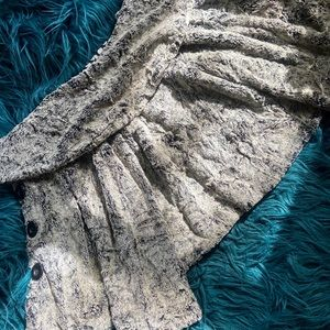 Shawl Collar 3/4 Sleeve Faux Fur Swing Jacket